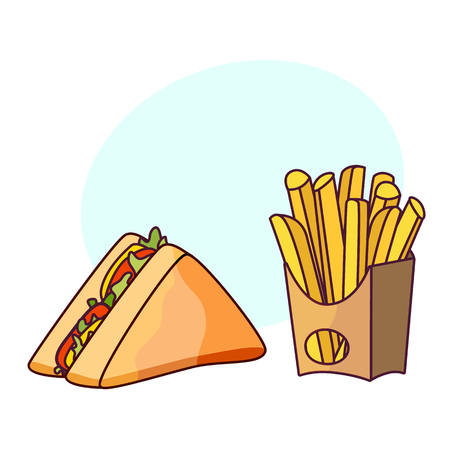 Vector sandwich potato fry set. Fast food flat cartoon isolated illustration on a white background with speech bubble
