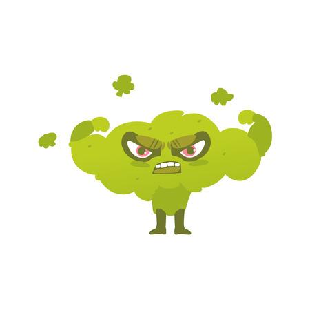 Funny broccoli hero, superhero character, guard, defendor, flat style cartoon vector illustrations isolated on white background. Broccoli vegetable hero, superhero character in mask and cape Illustration