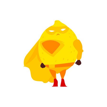 Funny lemon fruit hero, superhero character, guard, defendor, flat style cartoon vector illustrations isolated on white background. Lemon fruit hero, superhero character in mask and cape