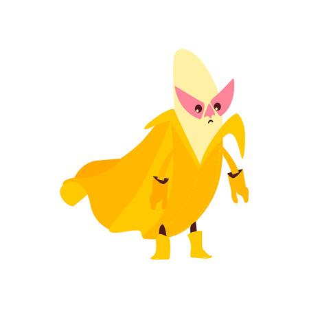 Funny banana fruit hero, superhero character, guard, defendor, flat style cartoon vector illustrations isolated on white background. Banana fruit hero, superhero character in mask and cape