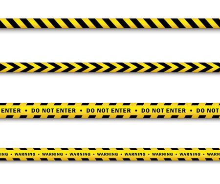 Set di nastro di polizia giallo nero vettoriale. Illustrazione isolata del fumetto piano su una priorità bassa bianca. Nastro giallo di pericolo con strisce nere che chiudono per forensi, investigatori. Archivio Fotografico - 85387007