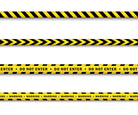 vector yellow black police tape set. Flat cartoon isolated illustration on a white background. Yellow danger tape with black stripes enclosing for forencics, investigators. Stock Vector - 85387007