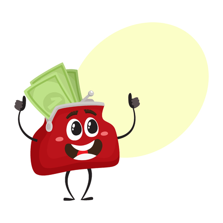 Vector full of money wallet, purse character flat illustration isolated on a white background. Expressive happy, emotional smiling wallet full of money with speech bubble
