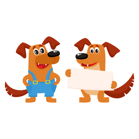 Two funny cute dog characters, one holding blank board, poster, another in blue worker overalls, cartoon vector illustration isolated on white background. Couple of funny dog characters