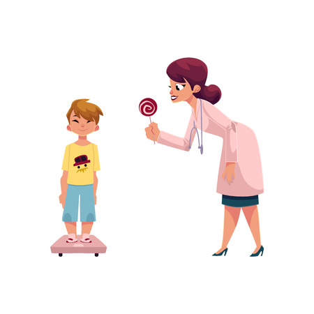 Woman doctor, pediatrician giving lollipop reward to boy, child, kid standing on weight scale, cartoon vector illustration isolated on white background. Doctor giving boy a lollipop for medical exam