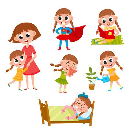 Niña leyendo, abrazando a la madre, regando la flor, enfermo en la cama, vistiendo traje de superhéroe, ilustración vectorial de dibujos animados aislado sobre fondo blanco. Rutinas diarias, la vida de la niña