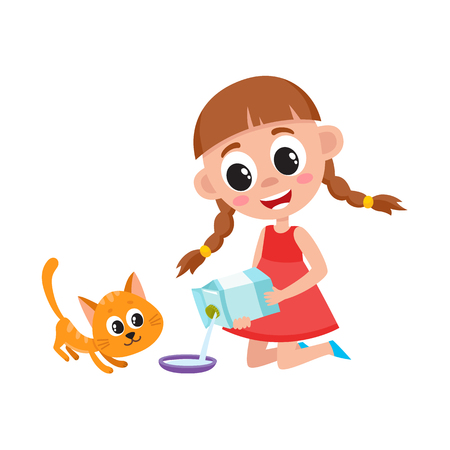 그녀의 고양이, 새끼 고양이, 흰색 배경에 고립 된 만화 벡터 일러스트 레이 션을 먹이 그릇에 우유를 붓는 어린 소녀. 바닥에 앉아있는 동안 그릇에 우 일러스트