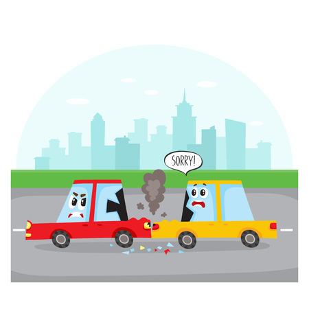 도 사고, 자동차 문자, 사이드보기와 도시 거리에서 후방 충돌 만화 벡터 일러스트 레이 션. 인간의 얼굴을 가진 두 만화 카 문자는도 교통 사고, 도시