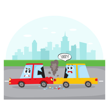 Road accident, rear end collision on city street with car characters, side view cartoon vector illustration. Two cartoon car characters with human faces have road accident, collision on city street
