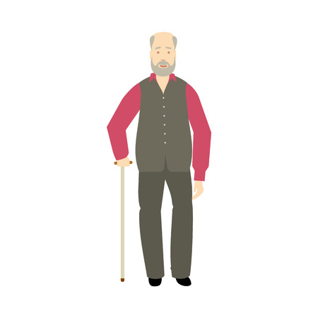 vector flat old grey-haired man with mustage, beard and cane. Isolated illustration on a white background. Full lenght portrait, Flat family characters concept Illustration