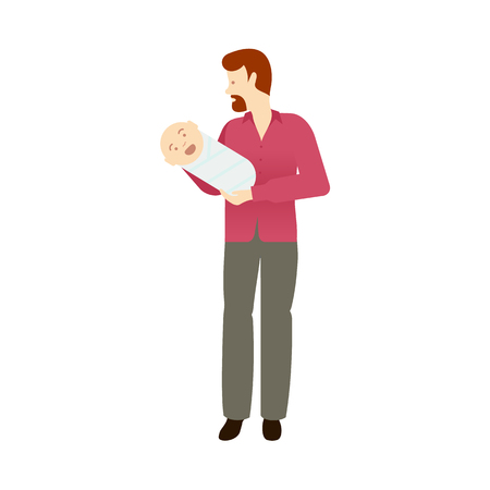 vector adult man holding infant newborn baby with beard and mustache wearing shirt isolated. Full lenght portrait. Flat illustration on a white background, Family character cartoon concept.