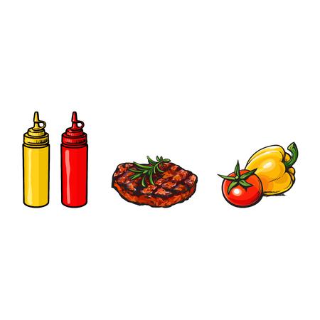 Boeuf, steak de porc, légumes, ketchup et moutarde, concept de restauration rapide saine, illustration vectorielle de croquis sur fond blanc. Dessin à la main réaliste de boeuf, steak de porc, légumes, ketchup, moutarde Banque d'images - 85319254