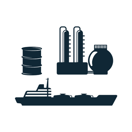 vector oil fuel barrel, refinery, tanker simple flat icon pictogram set isolated on a white background. Gas oil fuel, energy power petroleum industry symbol, sign