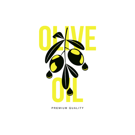 mediterranean: vector olive oil logo icon brand concept with olive branch. Isolated illustration on a white background Fresh natural food, agriculture and healthy eating concept Illustration