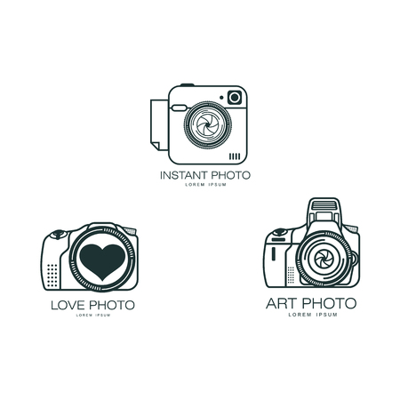 Vector photo camera icon set. Flat cartoon isolated illustration on a white background. Logo brand concept for photo studio