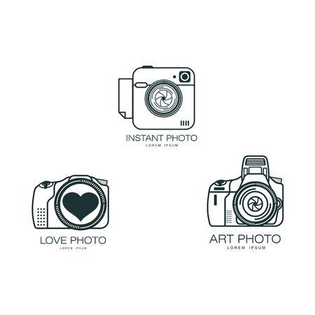 Vector fotocamera pictogramserie. Platte cartoon geïsoleerde illustratie op een witte achtergrond. Logo merkconcept voor fotostudio