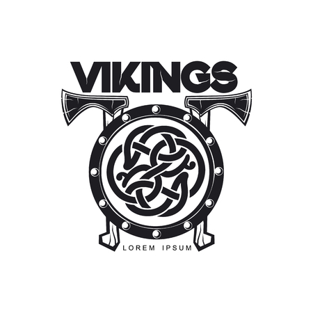 vector vikings icon logo template design simple flat isolated illustration on a white background. Axes and shield with pattern image Stock Illustratie