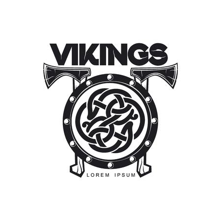 Vektor Wikinger-Symbol Logo Vorlage einfache flache isolierte Abbildung auf weißem Hintergrund. Äxte und Schild mit Musterbild Standard-Bild - 85319276