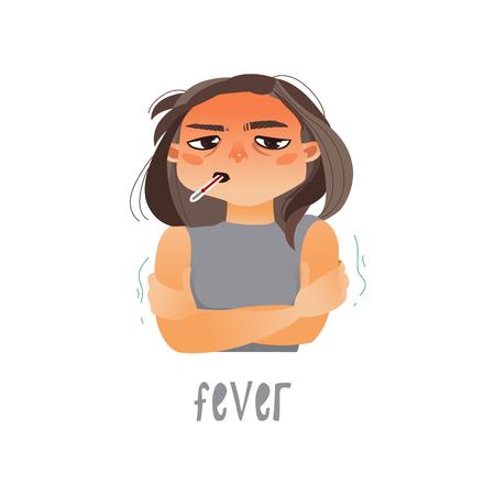 Vector jong ziek meisje die aan koorts lijden, die termometer in haar mond houden. Vlak geïsoleerde illustratie op een witte achtergrond. Ziekte en ziektesymptomen concept