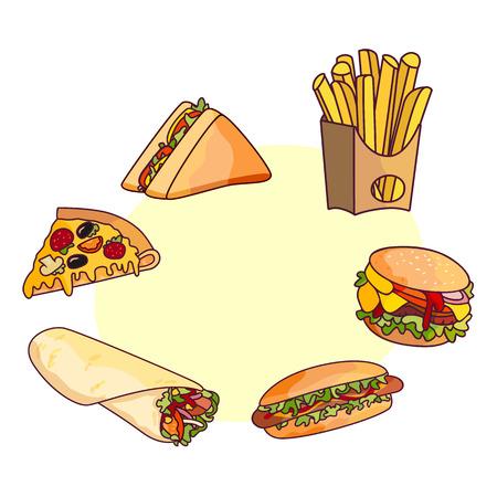 ベクトル ハンバーガー ピザのスライス、ロール ドネル ケバブ ポテト フライ サンドイッチ ドーナツ セット。吹き出しで白い背景のファーストフ