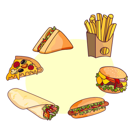 Vector burger pizza slice, roll doner kebab potato fry sandwich donut set. Fast food flat cartoon isolated illustration on a white background with speech bubble Illustration