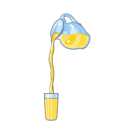 vector lemonade fresh glass juice carafe, pitcher with flowing into cup juice. Isolated cartoon illustration on a white backround. Kitchen glassware utensil