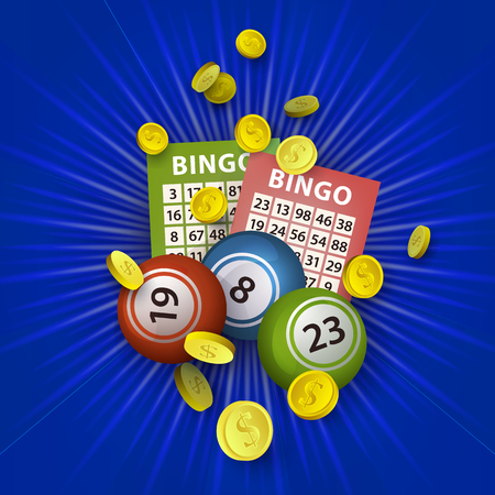 vector flat bingo cartoon lottery tickets, lotto keno jackpot number balls and golden coins rain around. Illustration on a blue background. Sign of profit, casino design poster