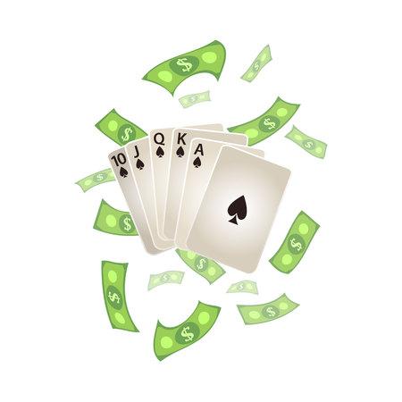 Vector de dibujos animados plana Royal Flush en tarjetas de póquer de espadas, la lluvia de dinero en efectivo en dólares alrededor. Ilustración aislada en un fondo blanco. Signo de ganancia, dinero fácil. Jackpot, cartel de diseño de bingo casino Foto de archivo - 85319301