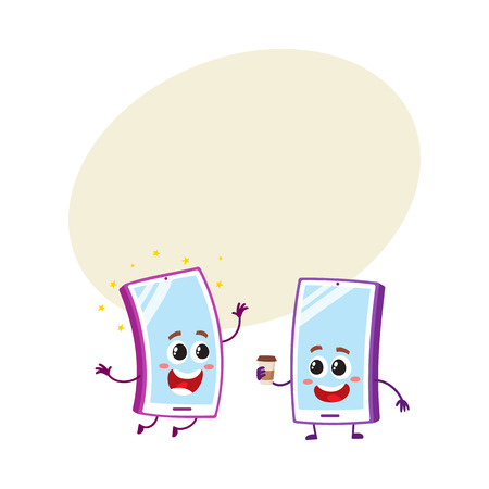 communication cartoon: Two cartoon mobile phone characters, one arms up, another holding paper coffee cup, vector illustration with space for text. Two cartoon mobile phone, smartphone characters Illustration