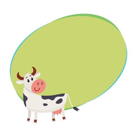 Grappige zwarte witte bevlekte en koe die terug eruit zien kijken, beeldverhaal vectorillustratie met ruimte voor tekst. Grappig koekarakter met teruggekeerd hoofd, zuivelfabriek, landbouwbedrijfconcept