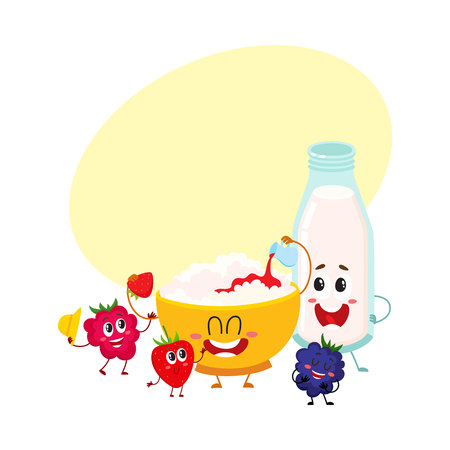 Funny bowl of cottage cheese, milk bottle and berry characters, healthy breakfast, cartoon vector illustration with space for text. Cute cottage cheese bowl, milk bottle and berry characters Иллюстрация