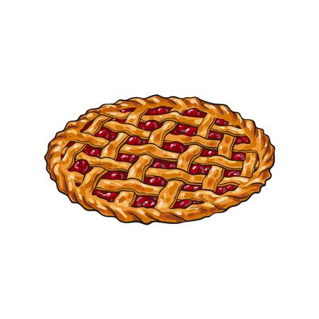 手描きの桜のパイ、伝統的な感謝祭の食品、白い背景で隔離のスケッチ スタイル ベクトル図です。スケッチ スタイル、手描き桜のパイ、伝統的な感謝祭の日のシンボル 写真素材 - 85397027