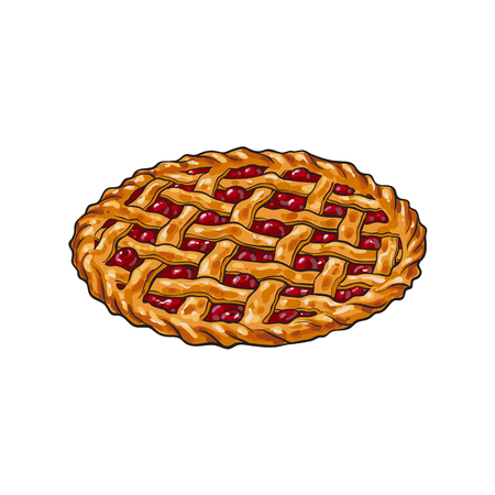 Hand drawn cherry pie, traditional thanksgiving food, sketch style vector illustration isolated on white background. Sketch style, hand drawn cherry pie, traditional Thanksgiving Day symbol Illustration