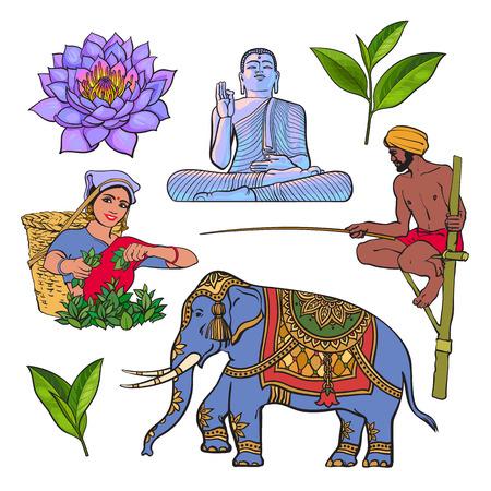 Sri Lanka country symbol set - water lily, Buddha statue, elephant, green tea, stilt fishing, cartoon vector illustration isolated on white background. Set of hand drawn Sri Lanka cultural symbols