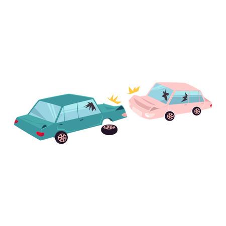 ベクトルフラット漫画カークラッシュ、事故。1台の車両がその車輪を失い、両方ともへこみ、割れたメガネ、傷を持っています。白の背景に独立し