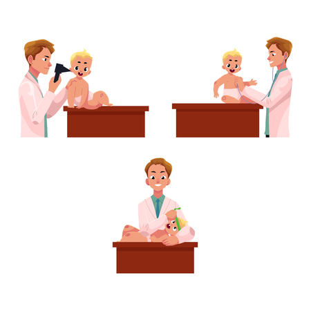 table sizes: Set of man doctor, pediatrician checking baby, infant ear, heartbeat, head size, cartoon vector illustration isolated on white background. Doctor, pediatrician doing regular medical baby exam