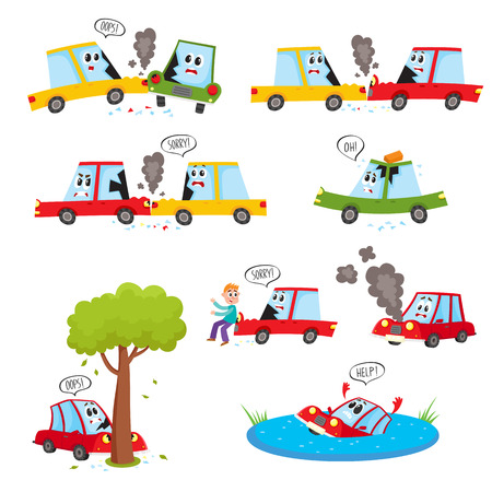 Funny car characters - accident, crash, collision, fender bender, cartoon vector illustration isolated on white background. Cartoon car character set - road accident, crash, collision, break, drown Ilustração