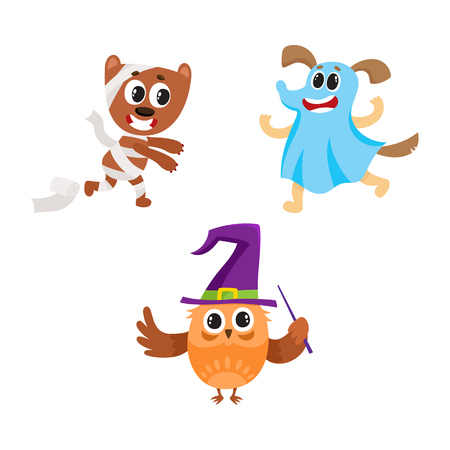 Owl, dog and bear animal characters in Halloween costumes - ghost, mummy, witch, cartoon vector illustration isolated on white background. Bear, owl and dog animal characters celebrating Halloween Illustration