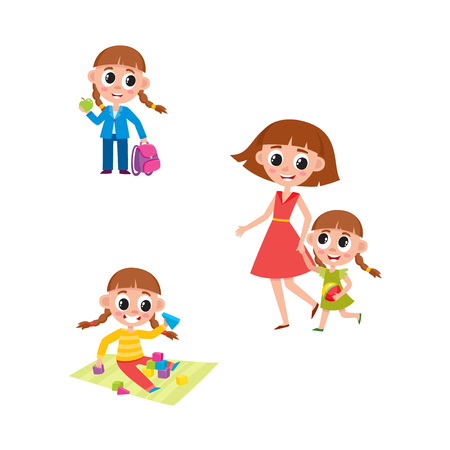 Set of little girl daily activities, going to school, playing, walking with her mom, mother, cartoon vector illustration isolated on white background. Daily routine, activity set, little girl Иллюстрация