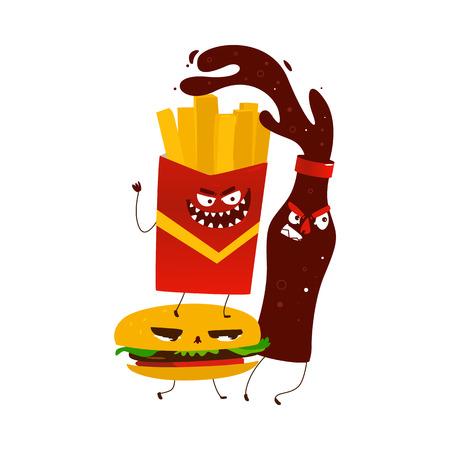 Vector de dibujos animados plana enojado fastfood monstruos. Ilustración aislada en un fondo blanco. Funny cola, patata frita y hamburguesa persiguiendo a la víctima con caras aterradoras. Foto de archivo - 85397034