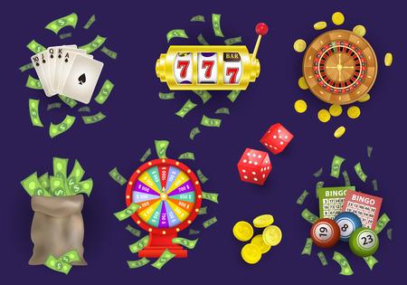 Ruota della roulette piatta vettoriale, monete d'oro, ruota della fortuna, borsa dei soldi in contanti. Poker Royal Flush di picche, palline della lotteria del bingo, biglietti. Slot machine, set di fiches del casinò. Illustrazione su sfondo blu. Archivio Fotografico - 85397025