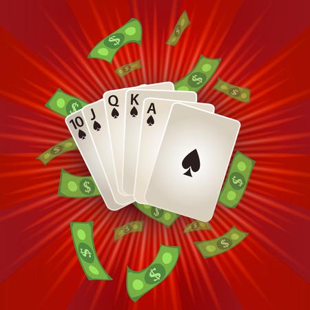 Vector plana dos desenhos animados Royal Flush em cartas de poker espadas, chuva de dinheiro em dinheiro dólar ao redor. Ilustração sobre um fundo vermelho. Sinal de lucro, dinheiro fácil. Casino, jogos de azar design poster Foto de archivo - 85397089