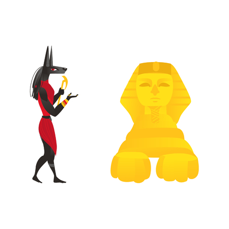 Anubis, ancient Egypt god of afterlife, and Egyptian sphinx, flat cartoon vector illustration isolated on white background. Flat cartoon portrait of Anubis, ancient Egyptian god and pyramid of Egypt
