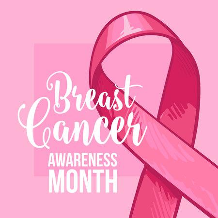 Insegna di mese di consapevolezza del cancro al seno, manifesto, modello con nastro rosa disegnato a mano, illustrazione di vettore di schizzo. Nastro rosa disegnato a mano, bandiera di campagna di mese di consapevolezza del cancro al seno, manifesto, carta Archivio Fotografico - 85397024