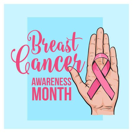 Breast cancer awareness month banner poster template with pink ribbon in open palm, hand, sketch vector illustration. Hand drawn pink ribbon in open palm, breast cancer awareness month campaign banner