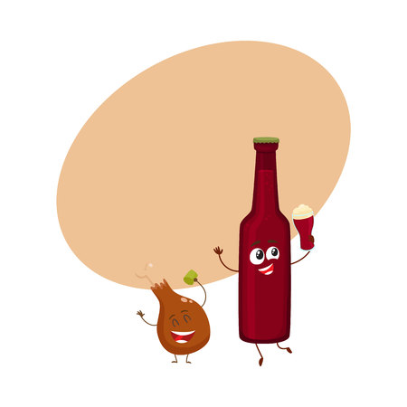 Funny beer bottle and fried chicken leg characters having fun, cartoon vector illustration with space for text. Funny smiling beer bottle and chicken leg, drumstick having party together Иллюстрация