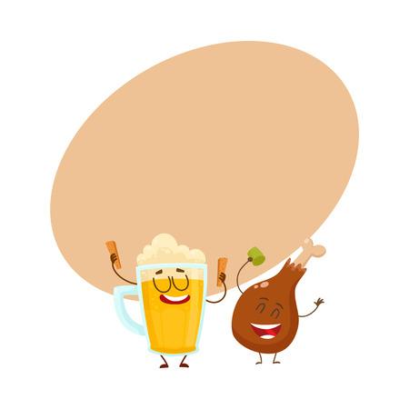 Grappige bierpul en de gebraden karakters die van het kippenbeen pret hebben, beeldverhaal vectorillustratie met ruimte voor tekst. Grappige lachende bier mok en kip been, drumstick met feest samen