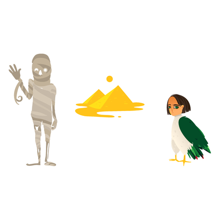Mummy, great pyramids and harpy woman bird, symbols of Egypt, flat cartoon vector illustration isolated on white background. Flat cartoon pyramids, mummy and harpy, symbols of Egyptian culture