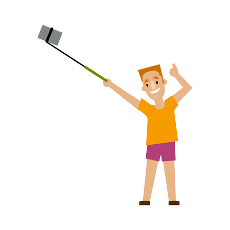 Young man making selfie with phone and monopod on summer vacation, flat style cartoon vector illustration isolated on white background. Young man, boy in summer outfit making selfie, showing thumb up
