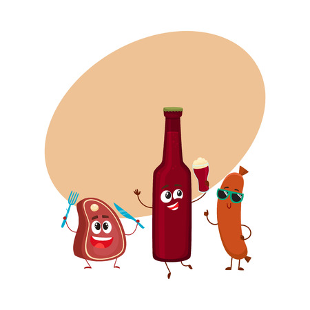 Happy beer bottle, meat steak, frankfurter sausage characters having party, cartoon vector illustration with space for text. Funny smiling beer bottle, steak, sausage characters celebrating Illustration